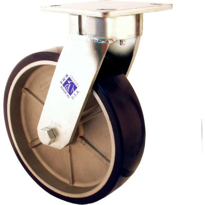 """RWM Casters 8"""" Rubber on Iron Wheel Swivel Caster with Side Wheel Brake - 65-RIR-0820-S-WB"""
