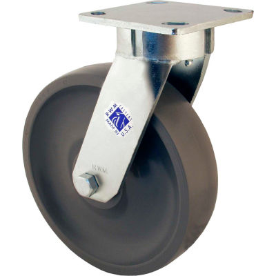 """RWM Casters 65 Series 8"""" Rubber on Iron Wheel Swivel Caster - 65-RIR-0820-S"""