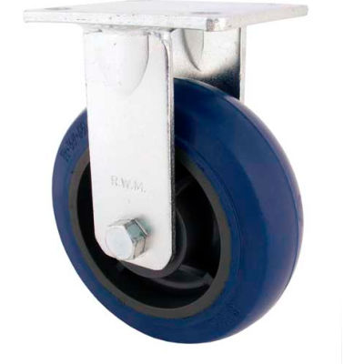"RWM Casters 8"" Urethane on Iron Wheel Rigid Caster with Side Wheel Brake - 65-UIR-0820-R-WB"