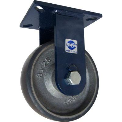 """RWM Casters 76 Series 8"""" x 2-1/2"""" Urethane on Iron Wheel Rigid Caster - 76-UIR-0825-R"""