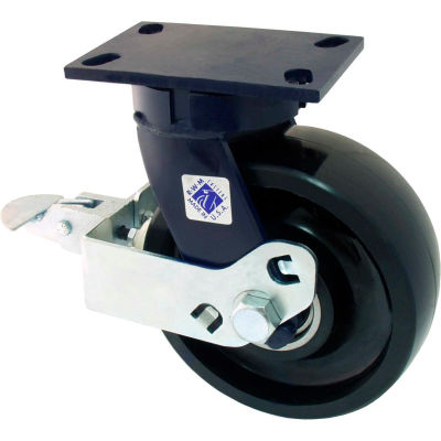 "RWM Casters 8"" Urethane on Iron Wheel Swivel Caster with Cam Wheel Brake - 76-UIR-0825-S-FICWB"