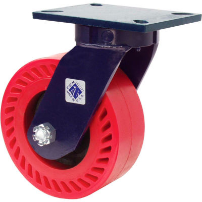 "RWM Casters 76 Series 8"" x 2-1/2"" Urethane on Iron Wheel Swivel Caster - 76-UIR-0825-S"