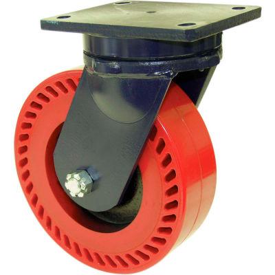 "RWM Casters 96 Series 10"" x 4"" Ultra Thick Urethane Wheel Swivel Caster - 95-UTR-1040-S"
