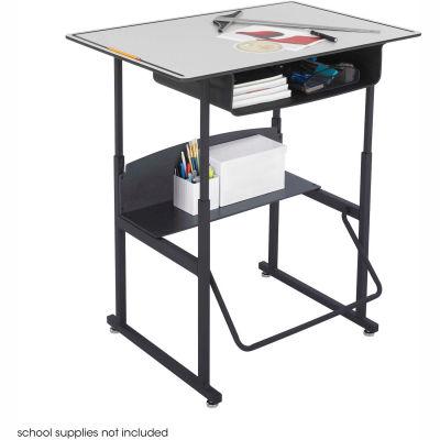 AlphaBetter™ Desk, 36 x 24 Premium Top, with Book Box - Gray & Black