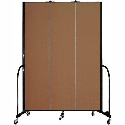 "Screenflex 3 Panel Portable Room Divider, 8'H x 5'9""L, Fabric Color: Walnut"