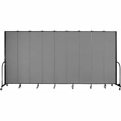 "Screenflex 9 Panel Portable Room Divider, 8'H x 16'9""L, Fabric Color: Stone"