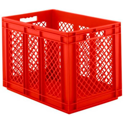 """SSI Schaefer Euro-Fix Solid Base/Mesh Sides Container EF6421 - 24"""" x 16"""" x 17"""", Red - Pkg Qty 2"""