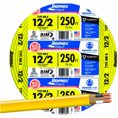 Southwire 28828255 Romex SIMpull ® Cable with Ground, Yellow, 12/2 Awg, 250 ft