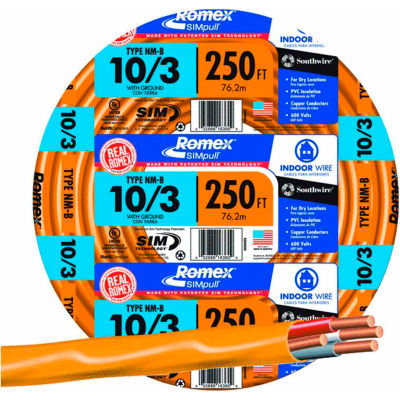 Southwire 63948455 Romex SIMpull ® Cable with Ground, Orange, 10/3 Awg, 250 ft