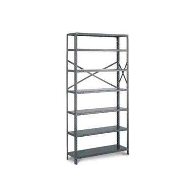 "Tri-Boro Klip-It Open Add-On, OAK73-3642-6X, 42""W x 36""D x 73""H, 6 Shelves, 18 Ga, Dark Gray"