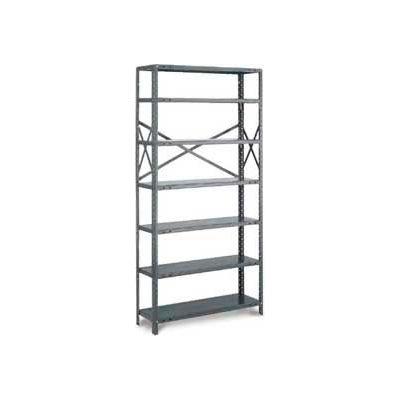 """Tri-Boro Klip-It Open Starter, OSK97-2436-6, 36""""W x 24""""D x 97""""H, 6 Shelves, 20 Ga, Dark Gray"""