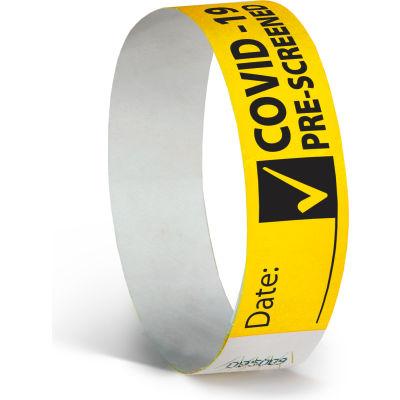 INCOM® COVID-19 Pre-Screened Wristbands, Neon Yellow, 1000/Box