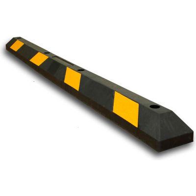 "Stationnement roue Stop - 72"" L - Black w/Yellow Stripes"