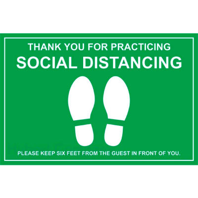 """Walk On Floor Sign - THANK YOU FOR PRACTICING SOCIAL DISTANCING, 12"""" x 18"""", Green"""