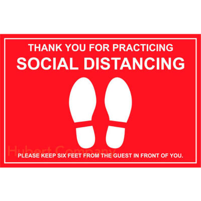 """Walk On Floor Sign - THANK YOU FOR PRACTICING SOCIAL DISTANCING, 12"""" x 18"""", Red"""