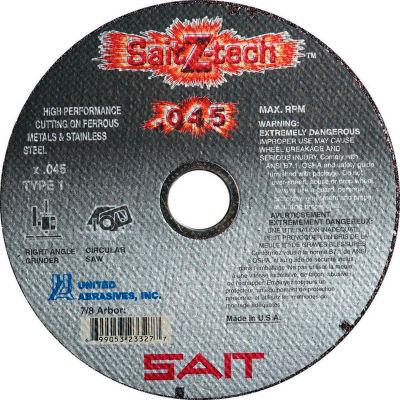 """Cut Off Wheel Type 1 Z-TECH 6"""" x .045"""" x 7/8"""" Zirconium - United Abrasives - Sait 23327 - Pkg Qty 50"""
