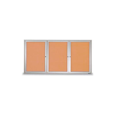 "United Visual Products 96""W x 48""H 3-Door Outdoor Enclosed Corkboard with Satin Aluminum Frame"