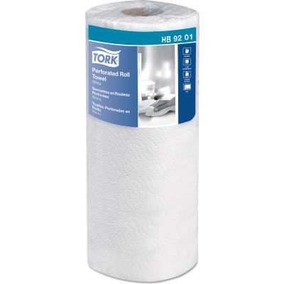 """Tork Handi-Size Perforated Roll Towel, 2-Ply, 11""""W x 6 3/4""""L, 120/Roll, White, 30/Case - HB9201"""