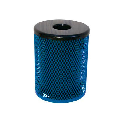 55 Gallon Thermoplastic Coated Diamond Pattern Trash Receptacle - Blue