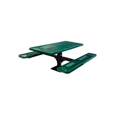 """6' Single Pedestal Table, Surface Mount, Diamond 72""""W x 70""""D, Perforated Metal - Green"""