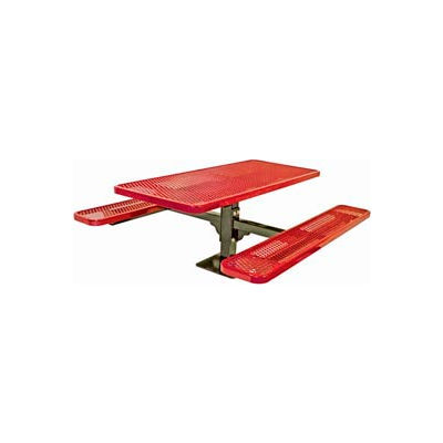 """6' Single Pedestal Table, Surface Mount, Diamond 72""""W x 70""""D, Perforated Metal - Red"""