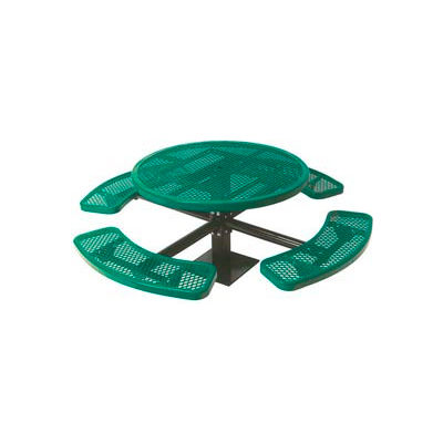 """46"""" Single Pedestal Round Table, Surface Mount, Expanded Metal 82""""W x 82""""D - Green"""