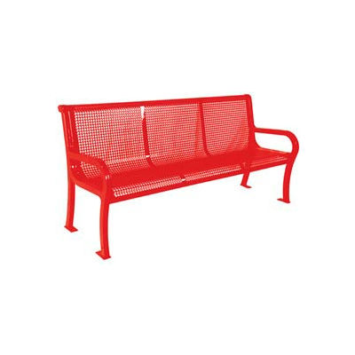 """8' Lexington Bench, Perforated 96""""W x 25""""D - Red"""