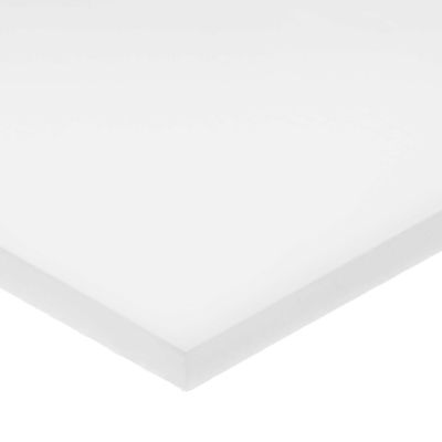 """White UHMW Plastic Bar w/ LSE Acrylic Adhesive - 1/4"""" Thick x 2"""" Wide x 24"""" Long"""