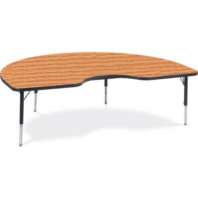 "Virco® 48KID72LO Activity Table w/ Short Adj. Legs, 48"" x 72"" Kidney, Black Frame/Oak Top"
