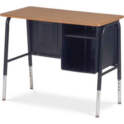 "Virco® 765 Junior Executive Student Desk 20""x34"", Black Frame with Oak Top"