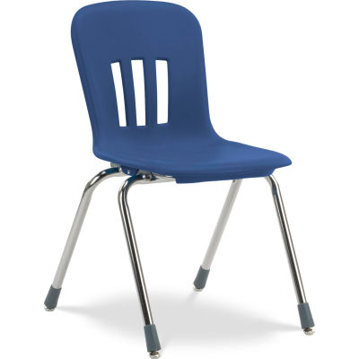 """Virco® N918 The Metaphor® Stacking Chair 18"""", Navy With Chrome - Pkg Qty 4"""