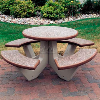 "Wausau Tile 66"" Concrete Round Picnic Table, Brown Top/Base w/ Sand Legs"