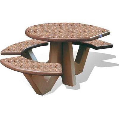 "Wausau Tile 66"" ADA Compliant Concrete Oval Picnic Table, Brown w/Sand Legs"