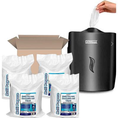 Germisept™ Wall Mounted Plastic Wet Wipe Dispenser, Black Starter Kit - 4 x 800 Wipes/Packages