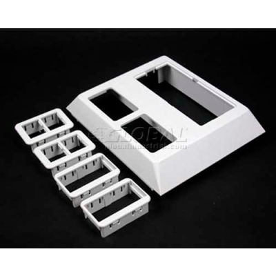 """Wiremold 5007C-2RTWH White Deep Device Plate For Ortronics, 5-3/16""""L"""