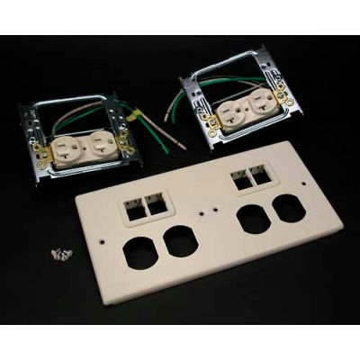 """Wiremold V4047-2wwtt 4-Gng Overlapping Cover, 2 Dplx, 2 Tracjack Mini Adptrs, 9-1/2""""L"""