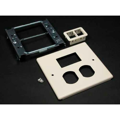 """Wiremold V4047bt For 15a And 20a Dplx Recpt.. Includes Mini Adptr Bezel, Ivory, 5-1/8""""L"""