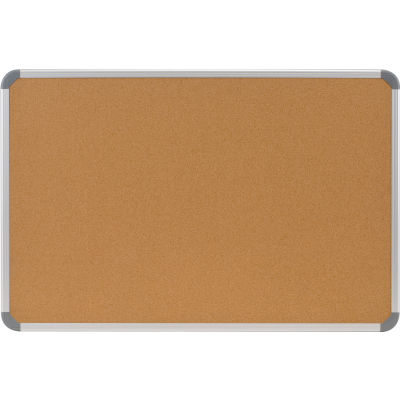 "Ghent Cintra 18"" x 24"" Bulletin Board - Natural Cork Surface - Silver Frame"