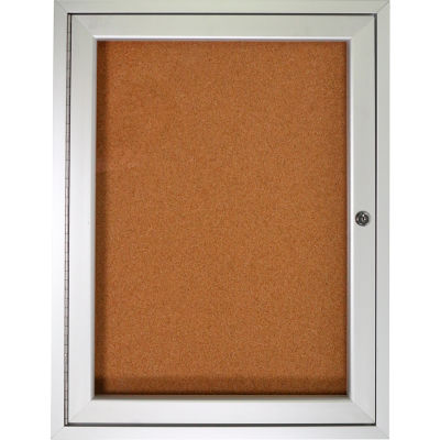 "Ghent Enclosed Bulletin Board - 1 Door - Natural Cork w/Silver Frame - 36"" x 36"""
