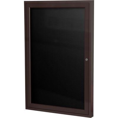 """Ghent Enclosed Letter Board - Outdoor / Indoor - 1 Door - Black Vinyl w/Bronze Frame - 24"""" x 18"""""""