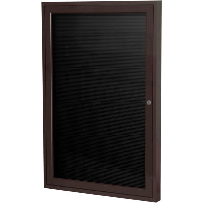 "Ghent Enclosed Letter Board - Outdoor - 1 Door - Black Vinyl w/Bronze Frame - 36"" x 24"""