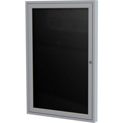 "Ghent Enclosed Letter Board - Outdoor / Indoor - 1 Door - Black Letterboard w/Silver Frame - 36""x30"""