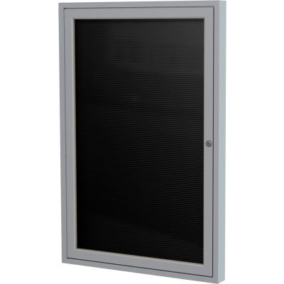 "Ghent Enclosed Letter Board - Outdoor - Flannel - Silver Frame - 24"" W x 36"" H - Black"