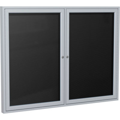 "Ghent Enclosed Letter Board - Outdoor / Indoor - 2 Door - Black Letterboard w/Silver Frame - 36""x60"""