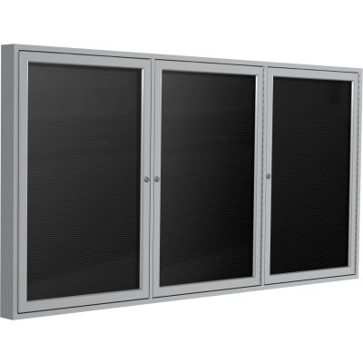 "Ghent Enclosed Letter Board - Outdoor / Indoor - 3 Door - Black Flannel w/Silver Frame - 48"" x 96"""