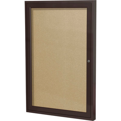 "Ghent Enclosed Bulletin Board - Outdoor - Vinyl - Bronze Frame - 36"" x 30"" H - Caramel"
