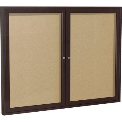 "Ghent Enclosed Bulletin Board - Outdoor - Vinyl - Bronze Frame - 36"" x 60"" H - Caramel"
