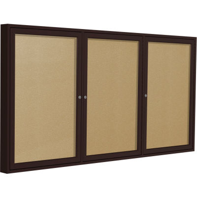 "Ghent Enclosed Bulletin Board - Outdoor - Vinyl - Bronze Frame - 36"" x 72"" H - Caramel"
