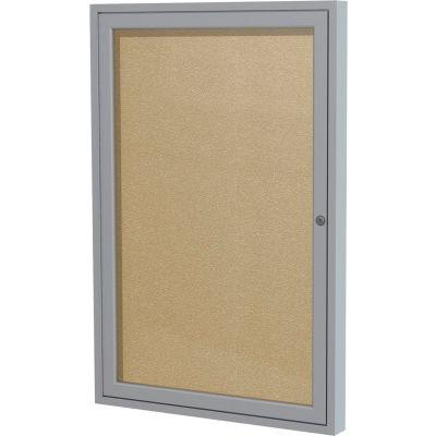 "Ghent Bulletin Board - 1 Door - Caramel Vinyl w/Silver Frame - 24"" x 18"""