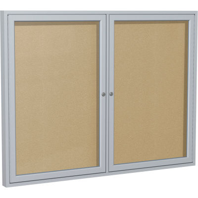 "Ghent Enclosed Bulletin Board - Outdoor / Indoor - Vinyl - 48"" x 60"" H - Caramel"